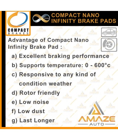 Compact Nano Infinity Brake Pad for Toyota Alphard ANH10 1st Gen(02-08)(Front)