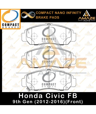 Compact Nano Infinity Brake Pad for Honda Civic FB 9th Gen (2012-2016) (Front)