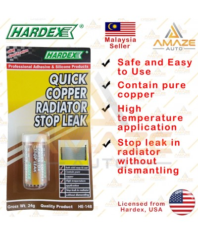 Hardex Quick Copper Radiator Stop Leak (24g) - Penampal bocor tangki air kereta pantas