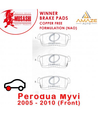 Musashi Winner Brake Pad (Copper Free NAO) for Perodua Myvi 2005 - 2010 (Front)