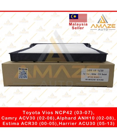 Air-Cond Cabin Filter with bracket for Toyota Vios NCP42, Camry ACV30, Estima ACR30, Alphard ANH10, Harrier ACU30 (Equal to 014520-0730)