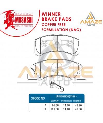 Musashi Winner Brake Pad (Copper Free NAO) for Perodua Viva (2007-2014) (Front)