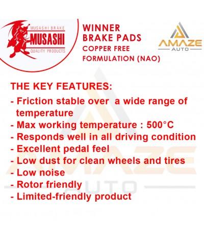 Musashi Winner Brake Pad (Copper Free NAO) for Proton Wira 1.3 & 1.5 (Front)