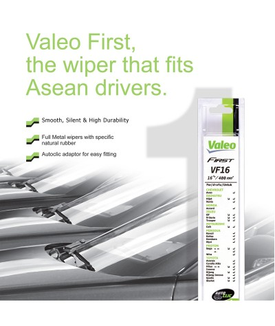 """Valeo First Conventional Wiper blade (J Hook & Steel Frame) for size 12""""/14""""/16""""/17""""/18""""/19""""/20""""/21""""/22""""/24""""/26"""" (Single Blade)"""