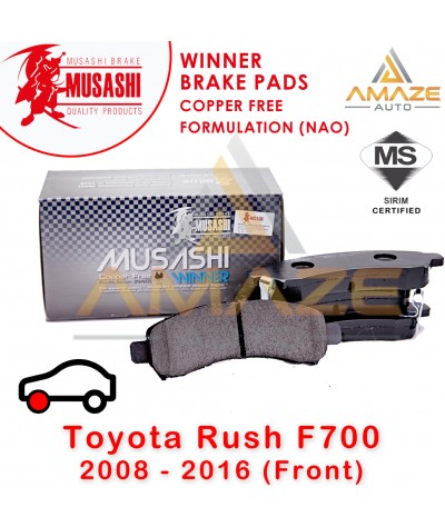 Musashi Winner Brake Pad (Copper Free NAO) for Toyota Rush F700 (2008-2016) (Front)