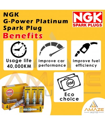 NGK G-Power Platinum Spark Plug for Perodua Myvi 1.3 & 1.5 3rd Gen (Dec 2017 - Current) - Last 40,000KM