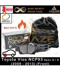 Compact Nano Infinity Brake Pad for  Toyota Vios G / S 2nd Gen (NCP93) (2009-2013) (Front) - Amaze Autoparts