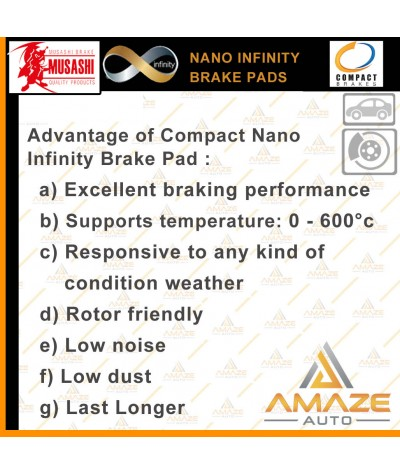 Compact Nano Infinity Brake Pad for Toyota Camry ACV30 3rd gen (2001-2006) (Rear)