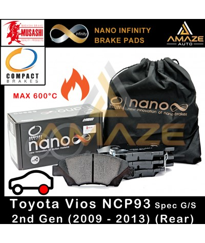 Compact Nano Infinity Brake Pad for Toyota Vios Spec G / S 2nd Gen (NCP93) (2009-2013)(Rear)