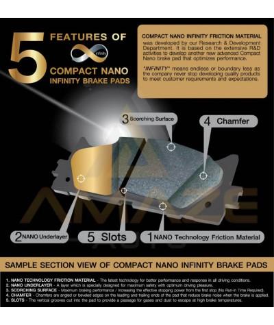 Compact Nano Infinity Brake Pad for Honda City GD I-DSI / VTEC (2002-2008) (Front) - Amaze Autoparts