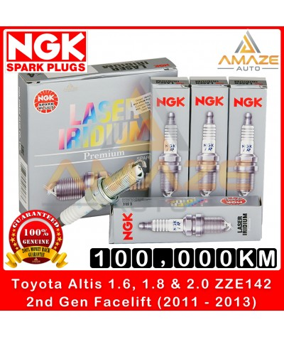 NGK Laser Iridium Spark Plug for Toyota Altis 1.6, 1.8 & 2.0 ZZE142 (2nd Gen Facelift) (2011-2013) - Long Life Spark Plug 100,000KM