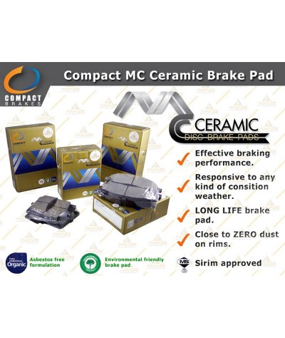 Compact MC Ceramic Brake Pad for Toyota Prius (2011 - 2015) (Front)